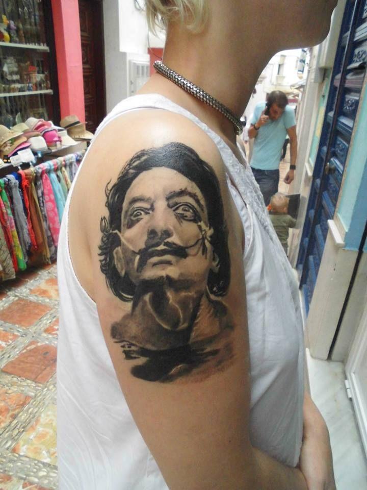 Dali's portrait by Tulipan in Salvador Tattoo & Art in Marbella, Spain