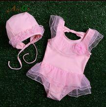 Nieuwe collectie 2016 sales een stuk badmode voor baby meisjes 3-24 M Kant en bloemen meisje de bikini roze 2 stuks meisjes Badpak(China (Mainland))