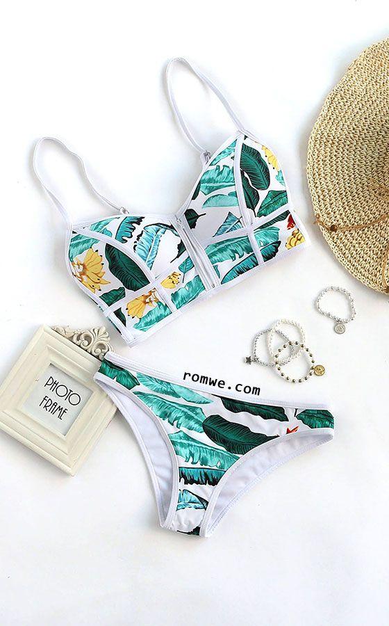 Tropical Print Contrast Trim Bikini Set