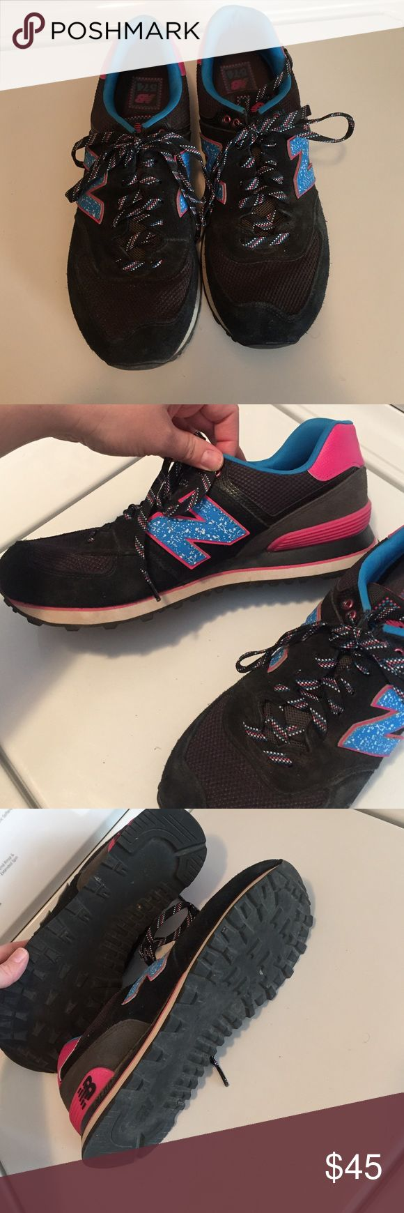New Balance 574 Worn once. Pink, blue and black. New Balance Shoes Athletic Shoes