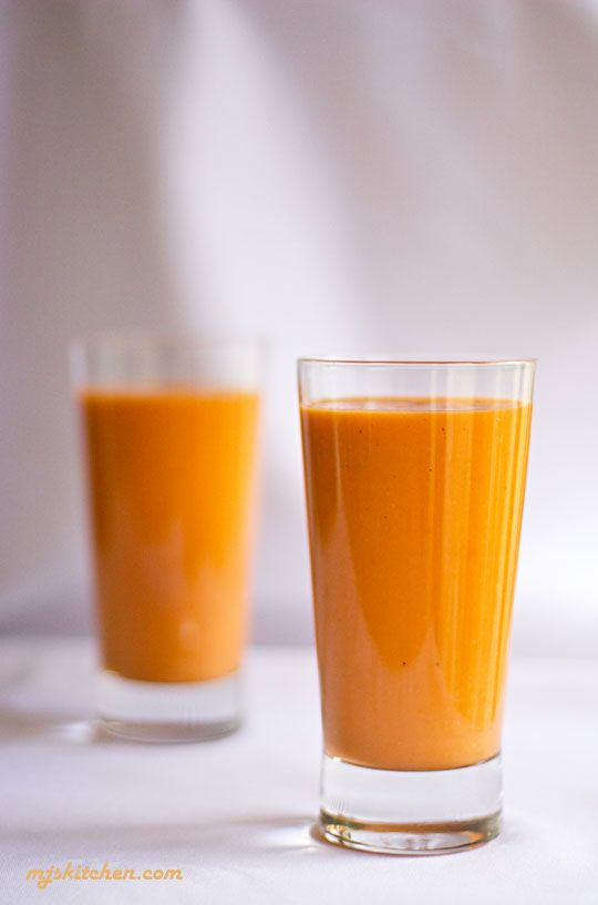 Thai Tea Apricot and Mango Smoothie- Get your vitamins and morning caffeine all in one drink!