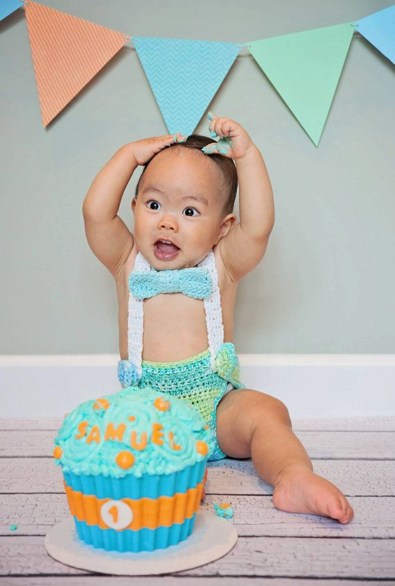 Baby Suspenders And Bow Diaper Cover Smash Cake