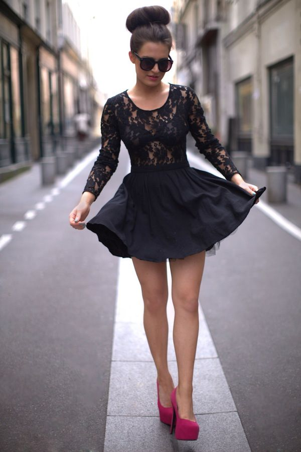Black lace dress, paired with a high donut bun, sunglasses and red pumps