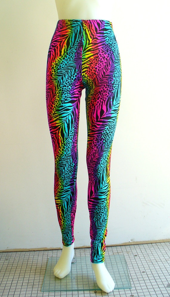 Black Neon Rainbow Animal Print Leggings by Blim on Etsy, $45.00