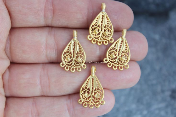 4  pcs connector chandelier pendant earrings link five bail 22k matte gold plated ethnic tribal boho turkish Jewelry findings mdla409 by madameperlina on Etsy