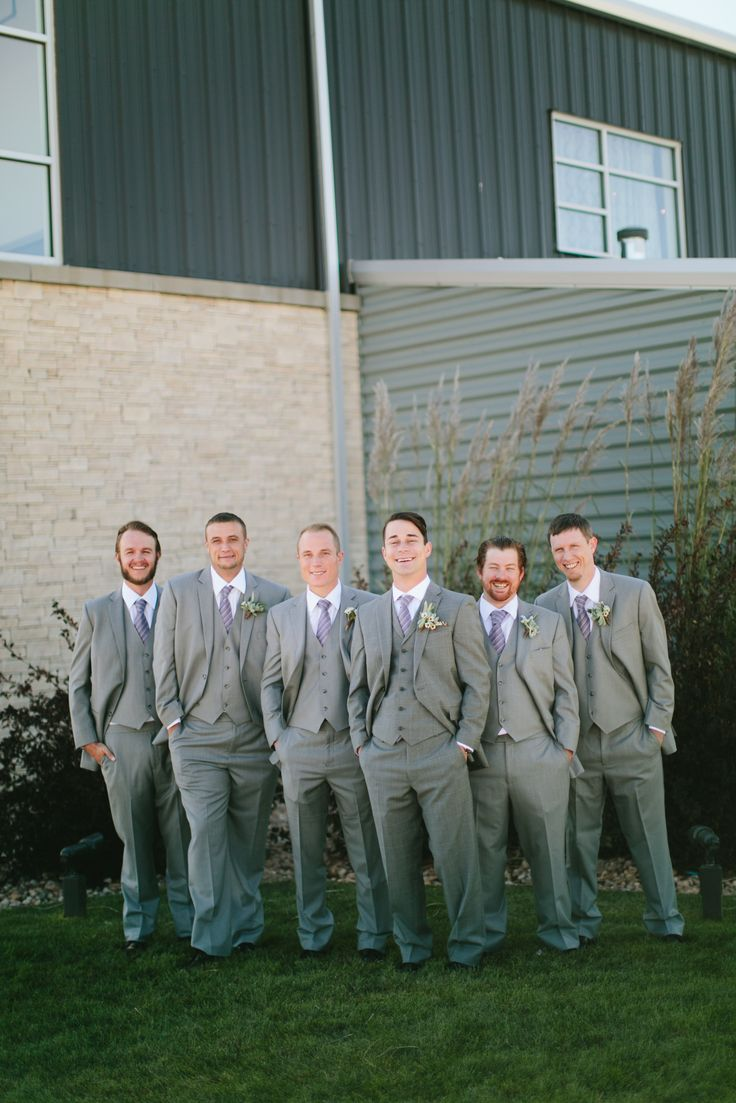 The men in gray from Ashley and Pete's Wedding! Photography Credit: Captivated Photography @windsongestate #wedding #gray #grey #outdoor #grass #groom #men #man #groomsmen #bestman #lilac #suits #ties
