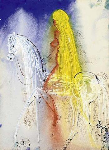 Lady Godiva, 1971, Dali    Lady Godiva inspiration images for Dr. Sketchy's Anti-Art School session, branch in Austin