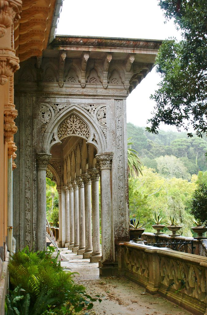 Carved stone details at the Monserrate Park Romantic Gardens in Portugal