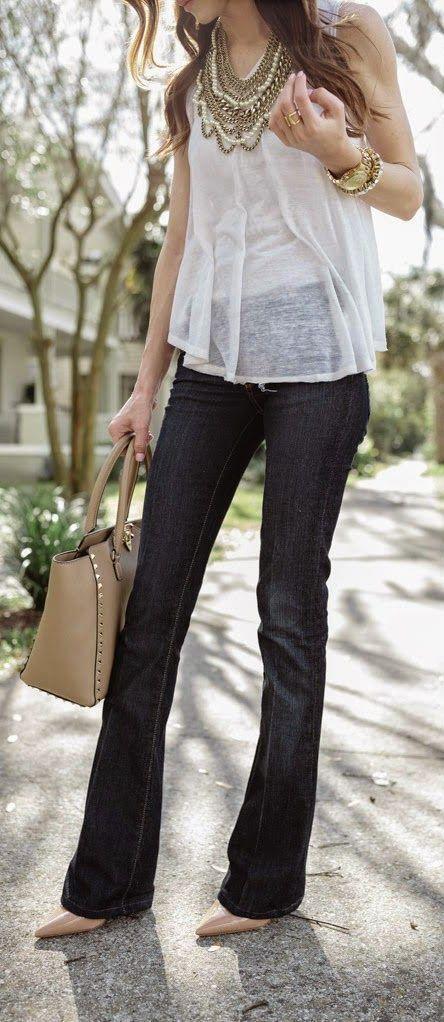 'Breezy' Seam Detail Slub Knit Tank with 'Skyline' Bootcut Stretch Jeans