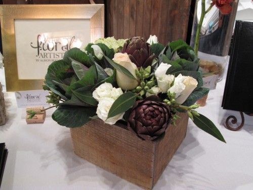 works better as a centerpiece: Cabbages Rose, White Rose, Flowers Centerpieces, Thanksgiving Centerpieces, Artichokes Centerpieces, Wooden Boxes, Floral Arrangements, Veggies Wraps, Brussels