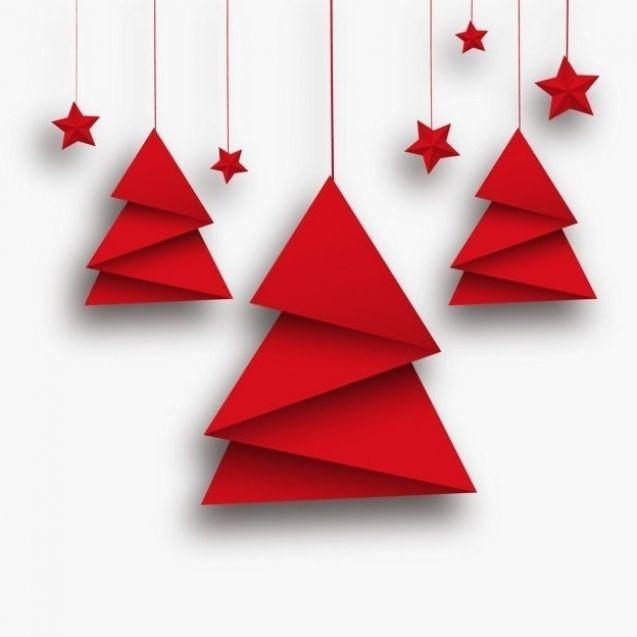 Vector Origami Christbaum Und Rote Sterne Baum Clipart Grusskarten Star Png Und Psd Date Origami Christmas Tree Minimalist Christmas Card Christmas Origami
