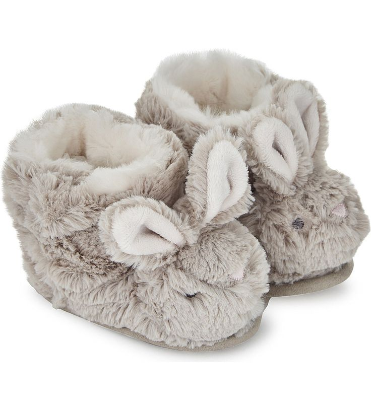 THE LITTLE WHITE COMPANY Fluffy bunny slipper boots 0-24 months