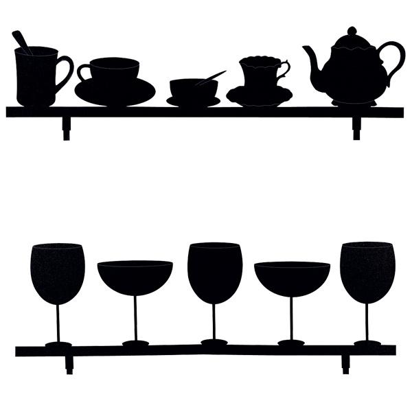 Bild_Wandtafel-Sticker-Folien «Tea & Wine» im Online Shop des schweizer Versandhaus Vedia bestellen