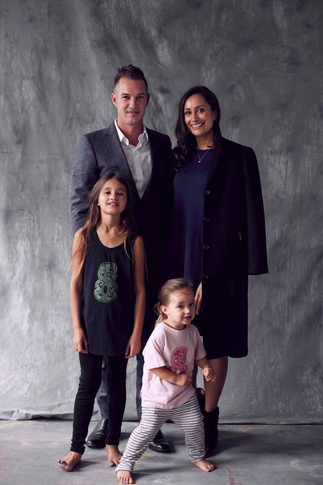 Stephen Green wears a custom Workshop Aotearoa suit. Jane Walden-Green wears the Workshop Denim Gilfriend Coat and Sophie Swing Dress. Lucia & Ava wear archive Workshop Kids Tiki Tees