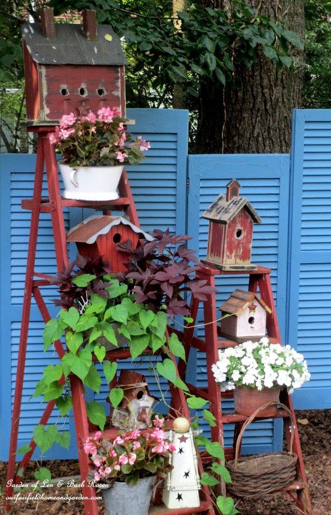 Garden art shutter fence, by Our Fairfield Home and Garden <3