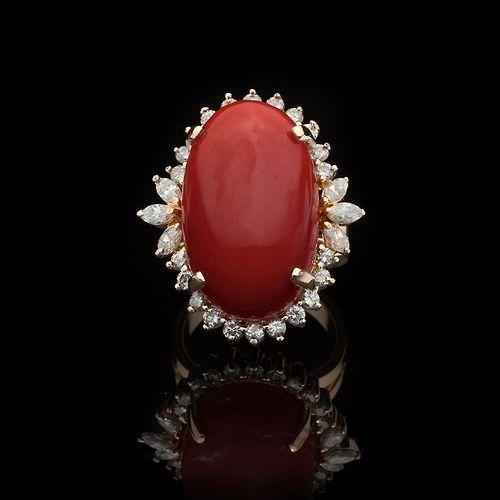 beautyblingjewelry:  Coral & Diamond Cock fashion love