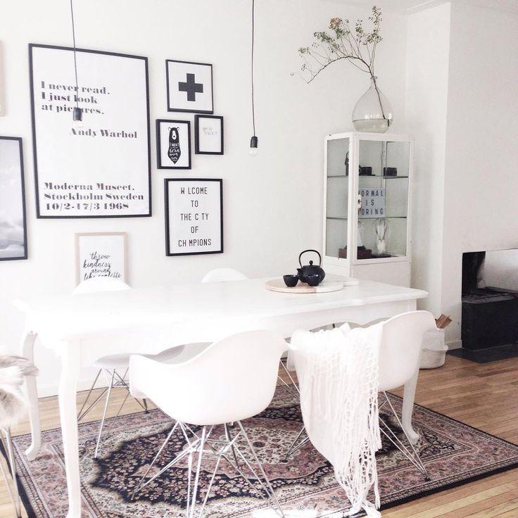 white scandinavian room with persian carpet