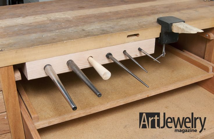 """Build an Under-bench Mandrel Holder   Art Jewelry Magazine - also discusses creating a slot for a bracelet mandrel tang that can be useful for the MDS """"Jewelry Bench on the Fly"""" project"""