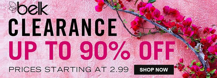Online Only! Up to 90% Off Clearance prices starting at 2.99  Store: #Belk Scope: Entire Store Ends On : 04/05/2018  Get more deals: http://www.geoqpons.com/Belk-coupon-codes  Get our Android mobile App: https://play.google.com/store/apps/details?id=com.mm.views  Get our iOS mobile App: https://itunes.apple.com/us/app/geoqpons-local-coupons-discounts/id397729759?mt=8