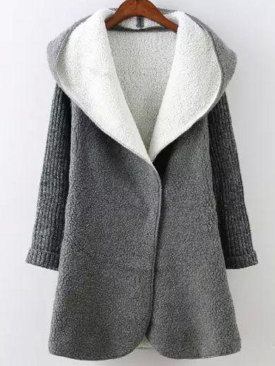 Grey Hooded Long Sleeve Pockets Sweater Coat