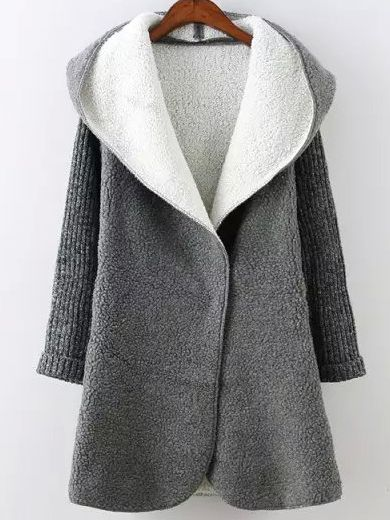Grey Hooded Long Sleeve Pockets Sweater Coat