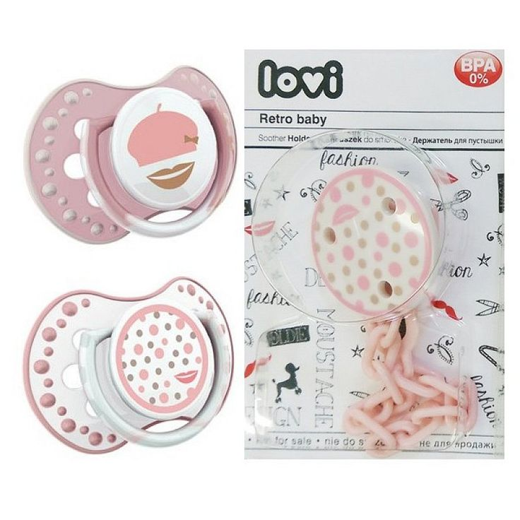 "LOVI Dynamic Soother + Soother Holder - Physiological, Silicone 0-3M, ""Retro Baby"", 2-pack, Pink"