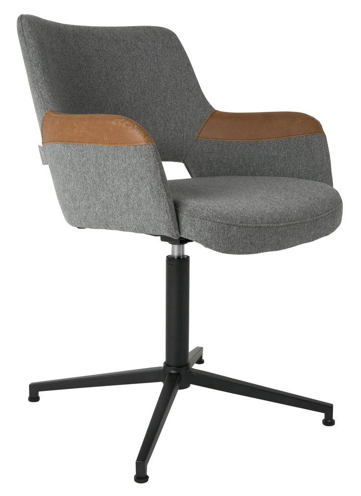 Wat: Syl stoel Ontwerper/fabrikant: Zuiver Herkomst: Nederland Materiaal: Polyester (kunststof), Staal (gepoedercoat) Prijs: € 289,-  De grijze stof in combinatie met het leren detail op de armleuningen geeft de stoel een typische retro look. De Syl stoel kan zowel als bureaustoel of als fauteuil in de kamer gebruikt worden. Een veelzijdige stoel in zijn eenvoud.