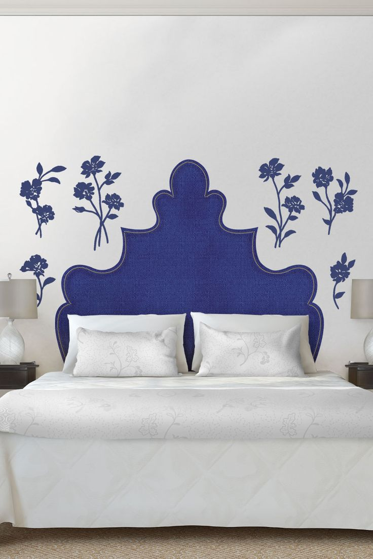 This vinyl rub on transfer wall decal is the perfect way to complete a bed without sacrificing space! The flower embellishments will be pretty alongside the headboard or elsewhere in the bedroom as decorative accents. Ideal for bedrooms with limited space, and may be a fun addition to a child's room. SHOP @marthastewart wall graphics at http://www.fathead.com/martha-stewart/headboards/shaped-headboard-with-flowers-wall-decal/ | Fathead Wall Graphics | DIY Home Decor On A Budget