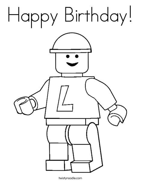 Happy Birthday Coloring Page Twisty Noodle Lego Coloring Pages Lego Coloring Birthday Coloring Pages