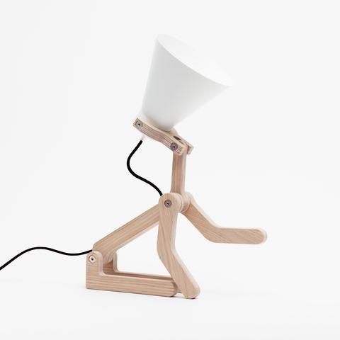 """Lampe chien à poser """"Waaf"""" en bouleau - blanc / noir - Hariet et Rosie Pierre Stadelman - Structures"""