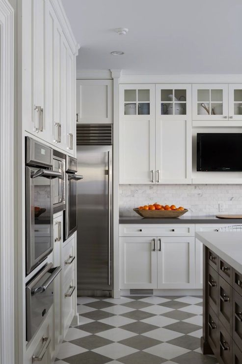 Foley & Cox - checkered floor tiles - quartz counters - marble subway tiles- Oven/microwave