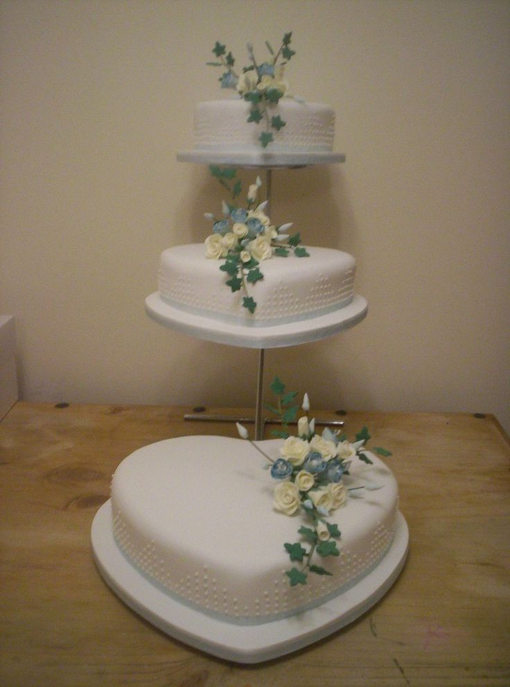 3 Tier Heart Shaped Wedding Cake White with white roses