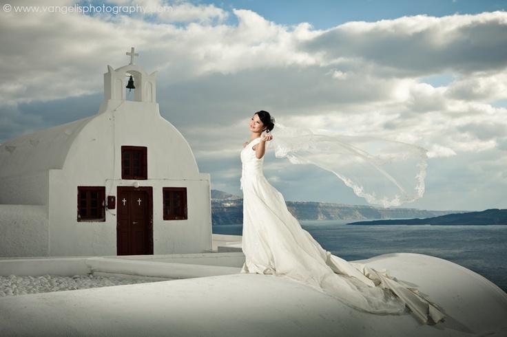 Bridal portrait in Oia Santorini.   Winter Photo shoot