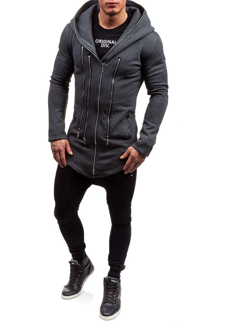 Antracytowa bluza męska z kapturem