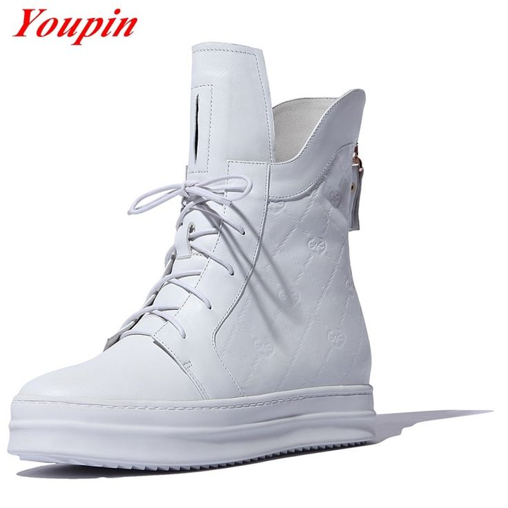 52.59$  Watch now  - Autumn winter boots 2015 Latest trends White Low heeled Leisure Genuine Leather Duantong Zipper Simple Autumn winter boots 34-42