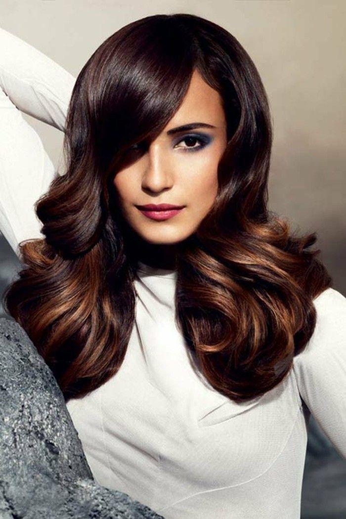 coloration chocolat cheveux longs tombant librement couleur de cheveux marron glac top - Coloration Marron Glace