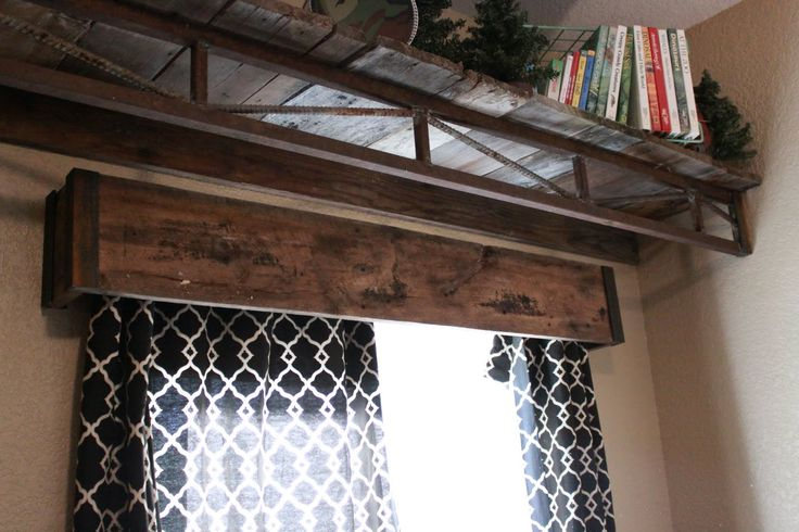 barn wood valance. Get my talented hubby to build it. :)