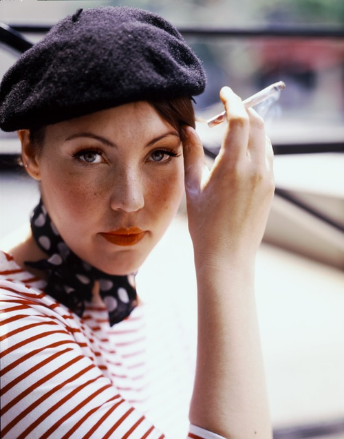 beret, striped T and polka dot scarf