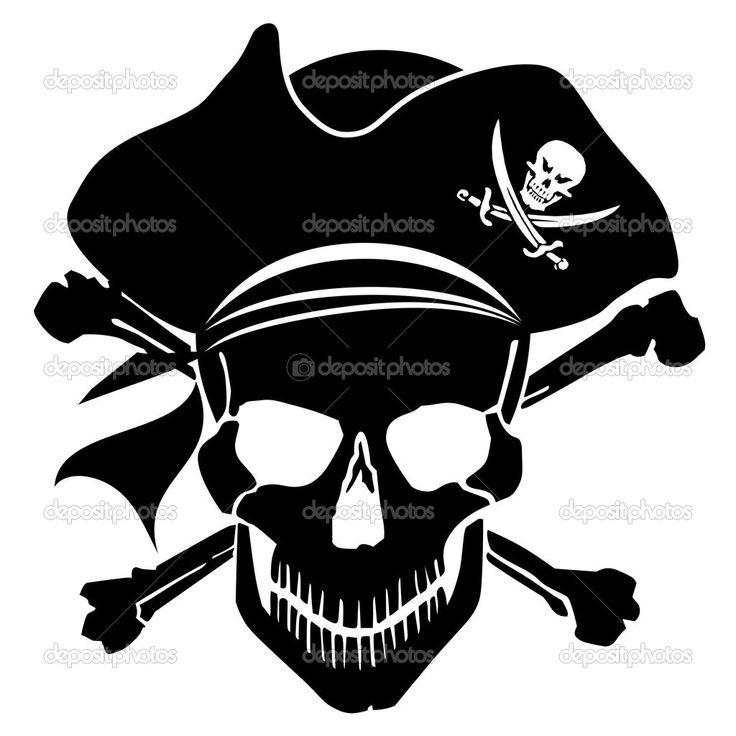 skull and crossbones clip art | Pirate Skull Captain with Hat and Cross Bones Clipart Illustration