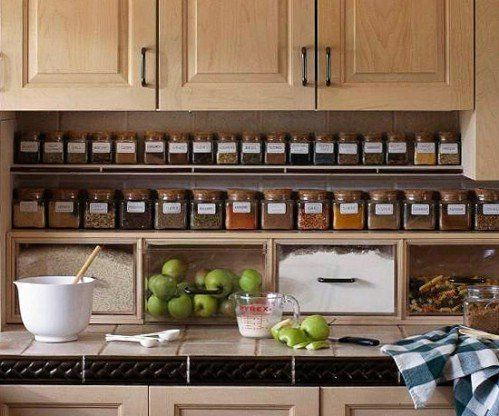 To keep spices in order, use the thinnest spaces in your kitchen. Add a small shelf just below your top cabinets or at the end of your counter. Keeping them in narrower spaces ensures that they never get crowded behind each other so you can find them much easier when you need them. - 60+ Innovative Kitchen Organization and Storage DIY Projects