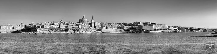 Valletta Bastions and fortifications built by the knights of the Order. #Valletta #Malta #mediterranean #Knights #bastions #fortifications #sea #culture #Knightsoftheorder #blackandwhite #panoramic