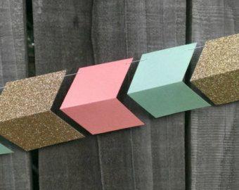Peach, Mint Green & Gold Paper Arrow Garland, Coral, Wedding Garland, Chevron Garland