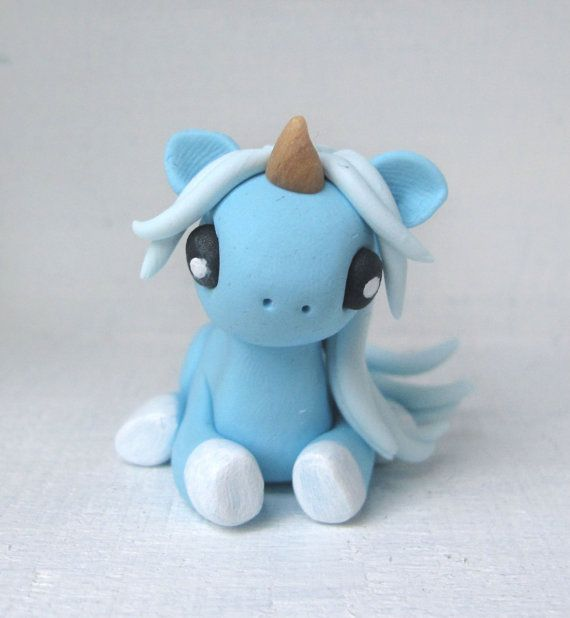Pastel Blue Baby Unicorn Polymer Clay by WithLoveFromMonique