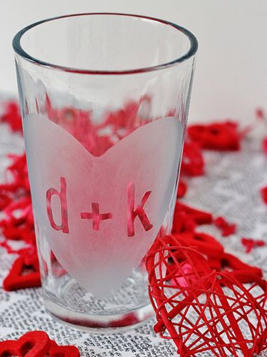 Toast to romantic bliss using an etched glass you made yourself. Get the tutorial from one of our fave DIY bloggers, Thistlewood Farms. #Crafts #ValentinesDay
