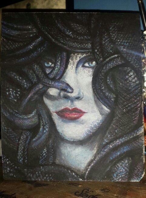 Medusa, oil pastels portrait
