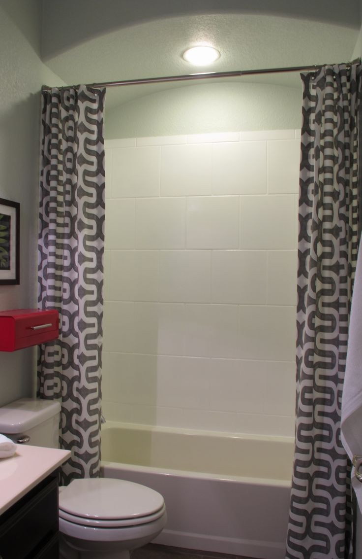 Refined Decorating Ideas Using Extra Long Curtain Rods: Tile Shower With  Shower Curtain Design And