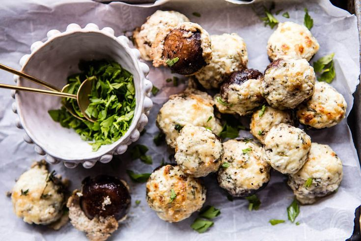 These are maybe the best stuffed mushrooms ever, the cheese and herb pairing is perfection  #RecipeOfTheDay #cheese #mushroom #herbs #recipe