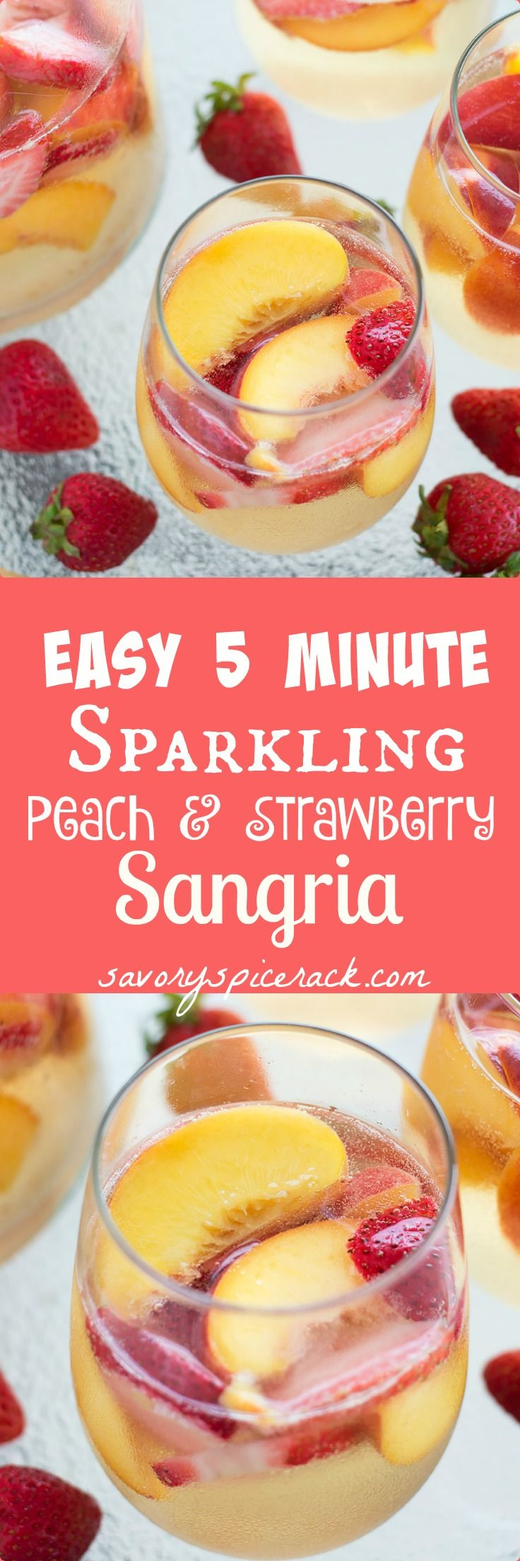 Sparkling Peach and Strawberry Sangria - This easy Sparkling Peach and Strawberry Sangria was a hit at our barbecue this weekend!
