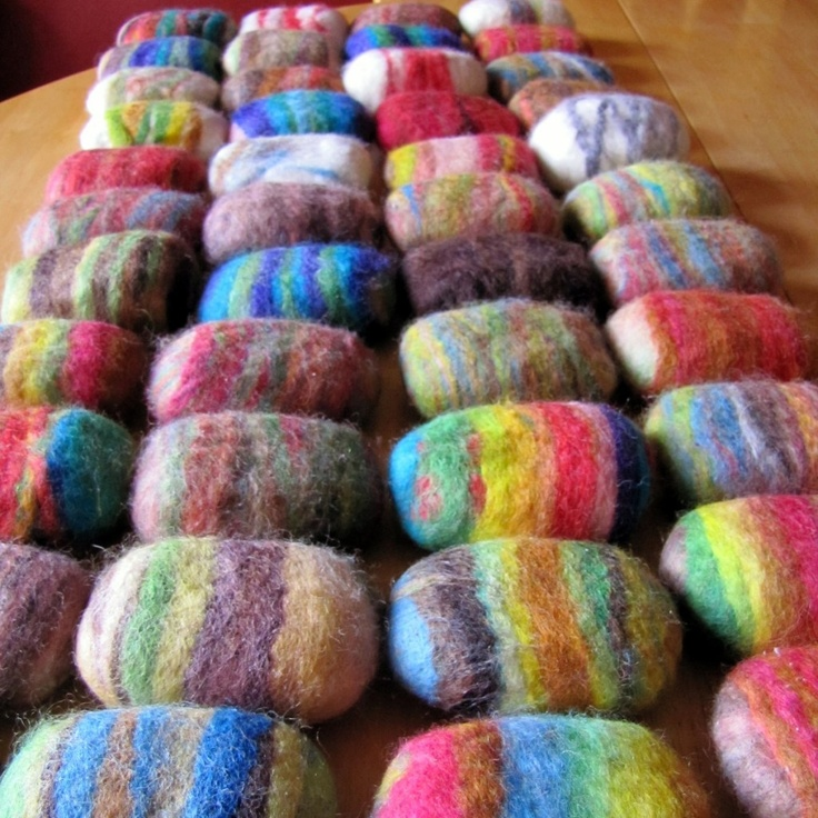 Felted Soap -- your felted soap into the tub or shower and it gently exfoliates your skin. As you use, soap suds come right through and the wool will continue to felt (shrink) around the bar of soap until you are left with a little scrubby, perfect for use during cleaning.