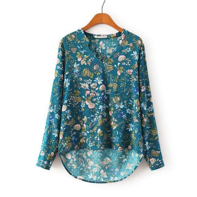 Hot Sale Women Vintage Floral V Neck Blouses Long Sleeve Chiffon Shirts Blusas Femininas European Casual Plus Size Tops